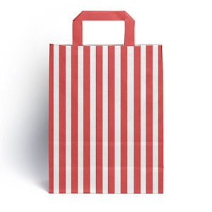 Red Candy Stripe Paper Carrier Bags [HappyPack.me Brand]