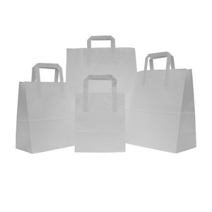 White Carrier Bags with Flat Handles