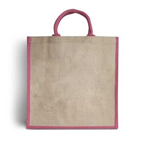 Natural Jute Pink Trim Bags with Luxury Padded Handles