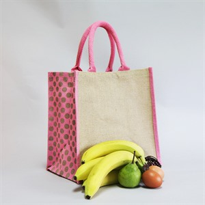 Natural Jute Pink Polka Dot Trim Bags with Luxury Padded Handles