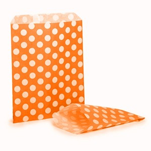 Orange Polka Dot Paper Bags