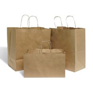 Brown Wide Base Paper Carrier Bags With Twisted Handles