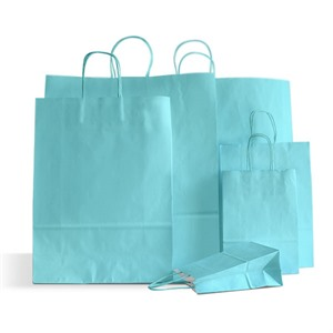 Light Blue Premium Italian  Paper Carrier Bags with Twisted Handles
