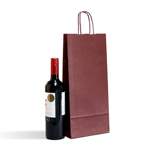 Italian Bordeaux Paper Two Bottle Bag with Twisted Handles