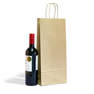 Italian Brown Paper Two Bottle Bag with Twisted Handles