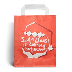Red Santa Christmas Carrier Bags with Flat Handles