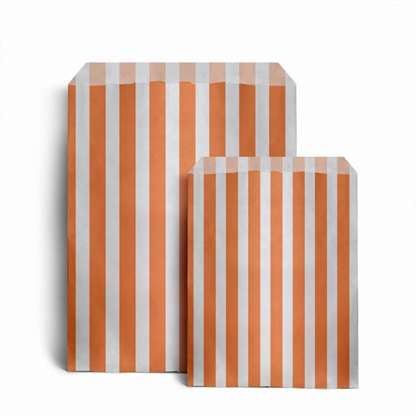 Orange Candy Stripe Paper Bags